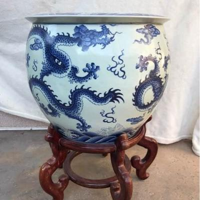 Large Blue Pot with Carved Wood Stand