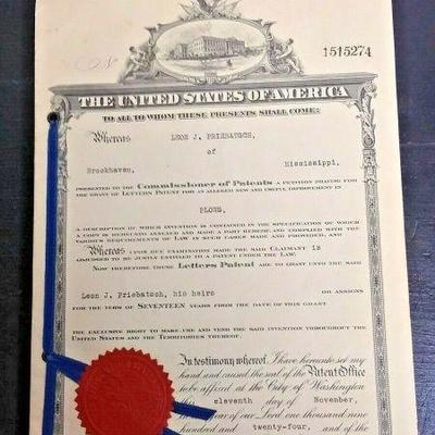 https://www.ebay.com/itm/124045181081 LAN634 UNITED STATES OF AMERICA PATENT DOCUMENT DATED 1924 FOR A PLOW BY INVENTE