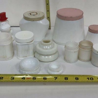 https://www.ebay.com/itm/124121209024 LAN586: 12 Vintage Milk Glass Jars Local Pickup