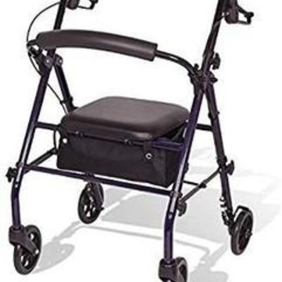 Carex Steel Rollator Walker with Seat and Wheels - Rolling Walker for Seniors
