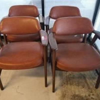 (4) Orange Wood Office Chairs