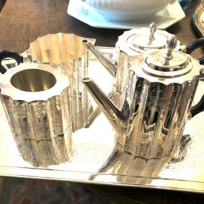 5-piece Turkish silverplate tea set
