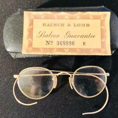 Antique gold-filled Bausch & Lomb spectacles w/certificate