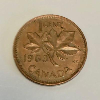 The Canada 1963 1 cent Big penny in clear plastic bag.