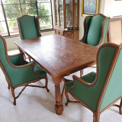 Wooden Dining Room Table with 4 Chairs and 2 Leaves Chairs are Cal-Mode Furniture Co - chair 6038 French Walnut Table measures approx 74