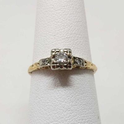 14k Gold Diamond Ring, 1.4g Weighs approx 1.4g, Diamond Size Approximately 1/16k, Ring Size Approximately 6
