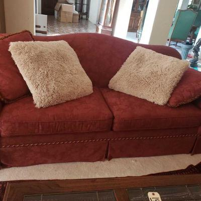 Vintage Red Fabric Couch and Love Seat with Decorative Pillows Couch measures approx 91