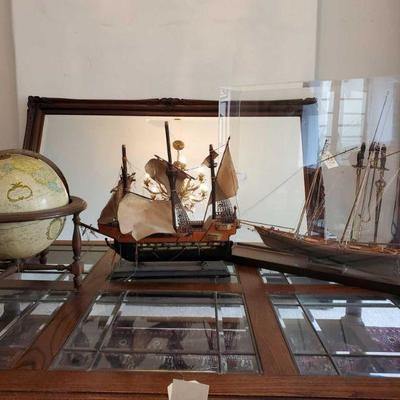 2 Model Ships and 1 Globe Ships measure approx from 21