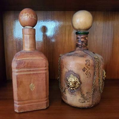 2 Leather Wrapped Decanters Approx 9