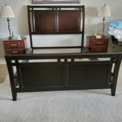 Dark Brown Sled Bed from Big Lots 5' wide Appox 7 feet long and 5' feet wide Sled bed. Nightstands not included