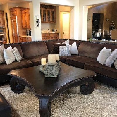 Pottery World sectional, 3 pieces, 11' in each direction.  Pottery World coffee table, 56
