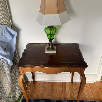 BAKER Walnut Side Table $200  Antique Green Glass Base Lamp $95