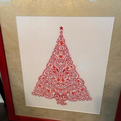 $75-Embroidered Christmas Tree Framed Art