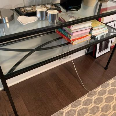 "$200-Pier One Glass & Iron Console Table- 14 ½ deep 46 "" wide 30 ¼ tall"