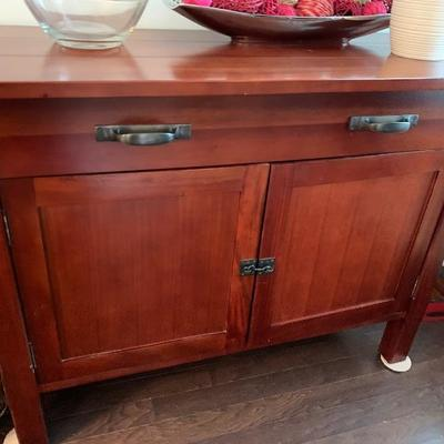"$400-Crate and Barrell Mahogany Buffet- 19 ¾ "" deep 48"" wide 35"" tall"