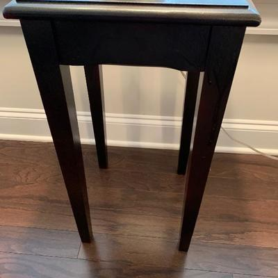 "$40- Wood table                                                                            12 ½ "" deep 14"" wide 24"" tall"