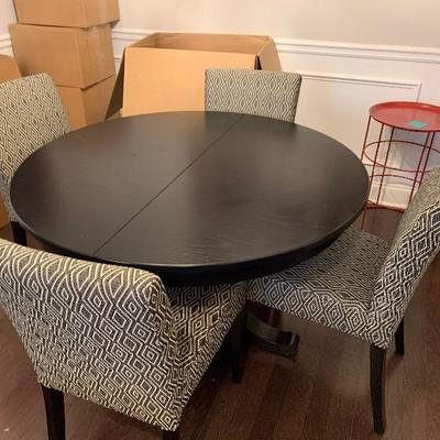 "$350-Crate and Barrel Round Table with Leaf- Without leaf: 45"" diameter; With Leaf: 60"" oval, 29"" tall"
