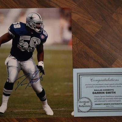 Autographed Darrin Smith Dallas Cowboys Football Print with COA - WILL SHIP