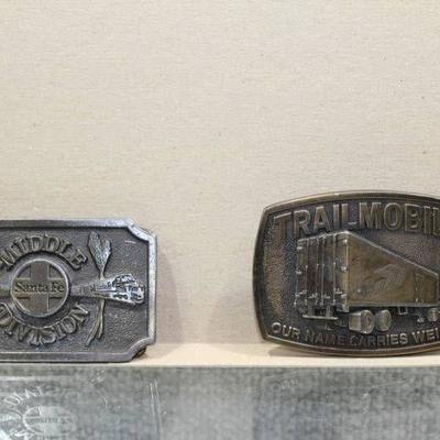 Lot of 2 Vintage Belt Buckles Includes a 1970's Trail Mobile & a 1979 Santa Fe Middle Division - WILL SHIP