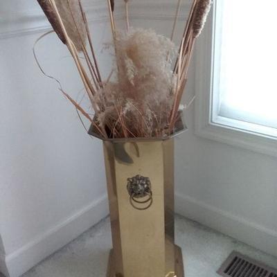 Brass Umbrella Stand and Artificial Arrangement