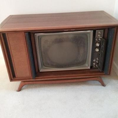 Mid-Century Television Cabinet and Speakers