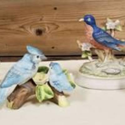 4 Vintage Porcelain Bird Bird Figurines ~ one is Musical