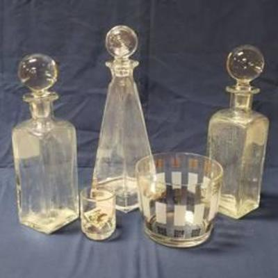 3 Crystal Decanters wHeavy Ball Stoppers, Vintage Ice Bucket and Jigger Shot Glass