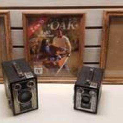 2 Vintage Kodak Brownie Cameras and 3 Frames (8x10)