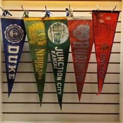 5 Vintage Felt UniversitySchoolVacation Pennants ~ 22 in. to 25 in. long