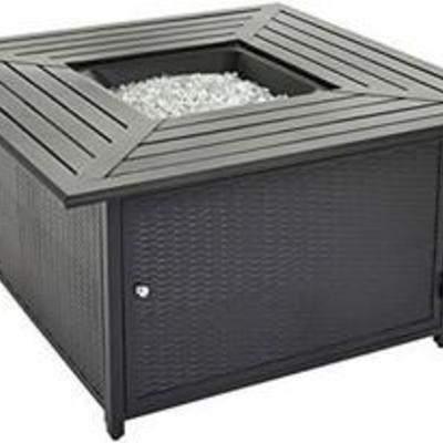 AmazonBasics 62515 Outdoor Patio Gas Table, Black Fire Pit
