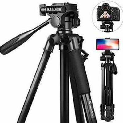 58 inch Camera Tripod, GooFoto 11lb5KG Load Portable Lightweight Aluminum Travel Tripod for NikonDSLRSonyCanoniPhonePhone with Carry Bag...