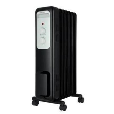 1,500-Watt Oil-Filled Radiant Electric Space Heater with Thermostat, Black