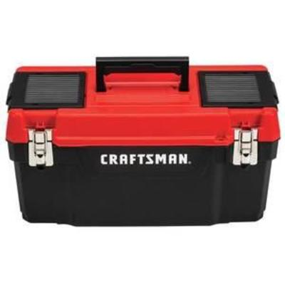 #Craftsman 20 in. Plastic Tool Box 9.7 in. W x 9.75 in. H BlackRed