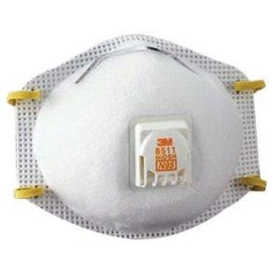 3M 8511DB1-A Tekk Protection Drywall Sanding Valved Respirator, 10-Pack