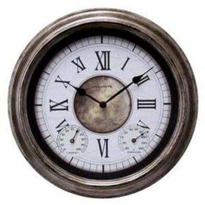 AcuRite IndoorOutdoor Antique Silver Clock