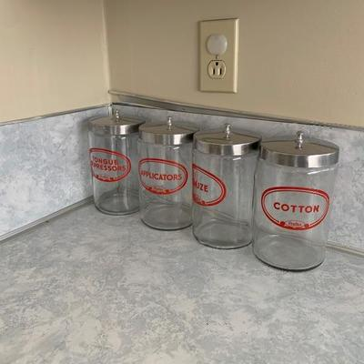 Vintage medical apothecary canisters