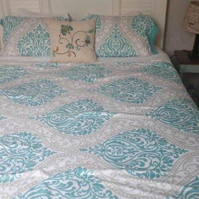 https://www.ebay.com/itm/124153675749	PA026: Turquoise and White Queen Size Comforter $20