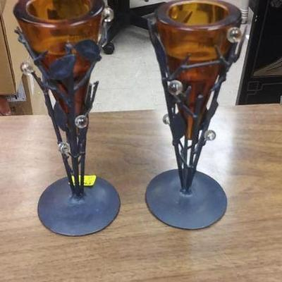 BOX041 Pair of ornate metal candle sticks. With Amber colored candle holders. Mfg. By Zodax. Made in Portugal. $10.00 BOX 41Pay online...