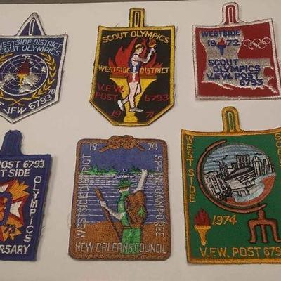 https://www.ebay.com/itm/114200223617	AB0281 VINTAGE LOT OF 6 BOY SCOUTS OF AMERICA PATCHS WEST SIDE SCOUT OLYMPICS $30.00 MORE BOX 70...