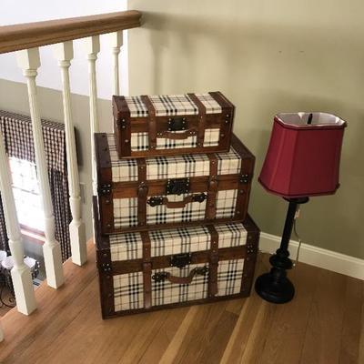 Set of 3 Fabric Trunks $125 Lamp $35
