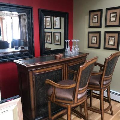 Gorgeous Bar w/ 2 Leather Bar Stools  Small mark on top Metal can be painted)  $1200  (Retail $4000)