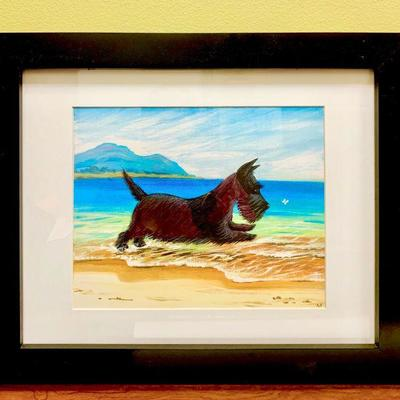 Scottish Terrier Textured Pastel Painting using Acrylic Paint