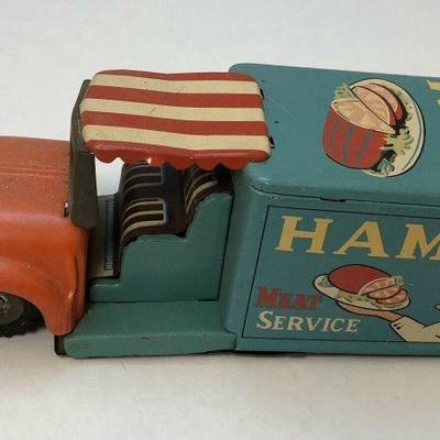 https://www.ebay.com/itm/114218490420BU1009 VINTAGE PRESSED METAL FRICTION CAR 1960S Ham Meat Service MADE IN JAPAN untested Auction