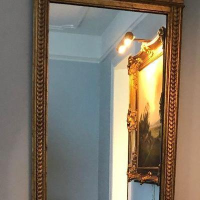 https://www.ebay.com/itm/114226115049BU1026 #2 Greek Key Large Gold Gilt Antique Mirror Local Pickup $60