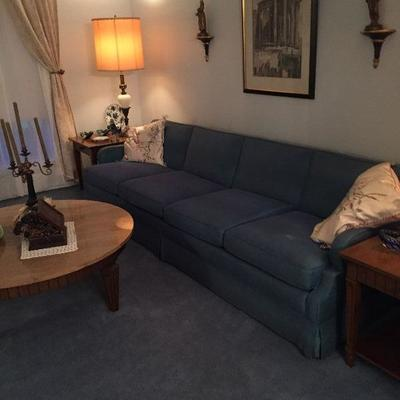 BU1003: Mid Century Four Section Greenish Blue Sofa 8 ft + Local Pickup 3rd Party Shipping $150