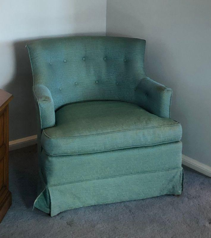BU1004: Greenish Blue Occacional Chair #1  Local Pickup 3rd Party Shipping $75