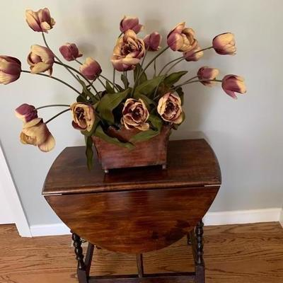 Silk Flowers in Antiqued Metal Container,,, 40$