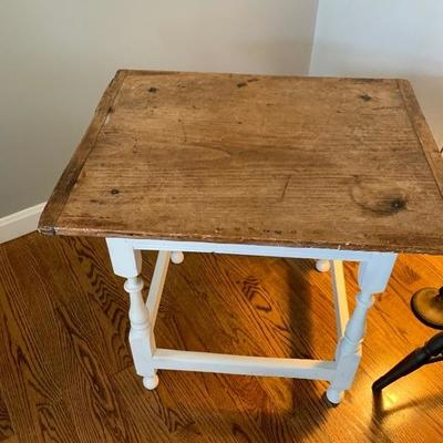 $65. Antique Cutting Board Top Accent Table ,         22H X 24W X 19D