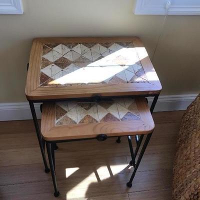 $65 pair Tile /Wood /Metal Nesting Tables
