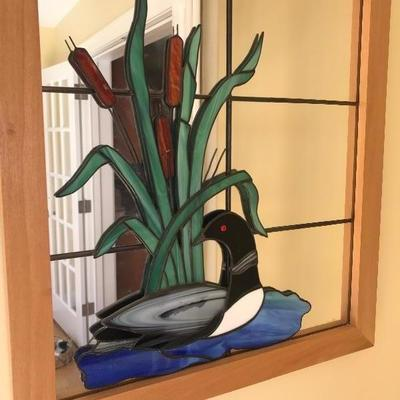 SOLD  $85 Adorable Stain Glass Loon Mirror